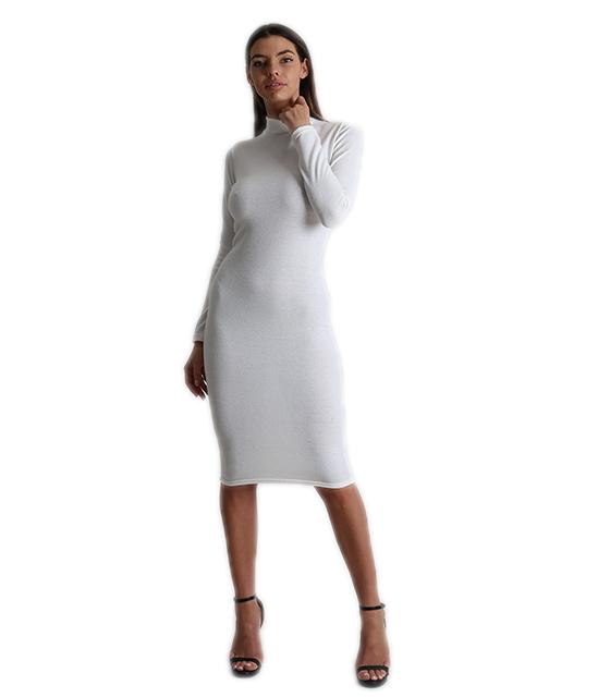 Midi πλεκτό φόρεμα ζιβάγκο (Λευκό)