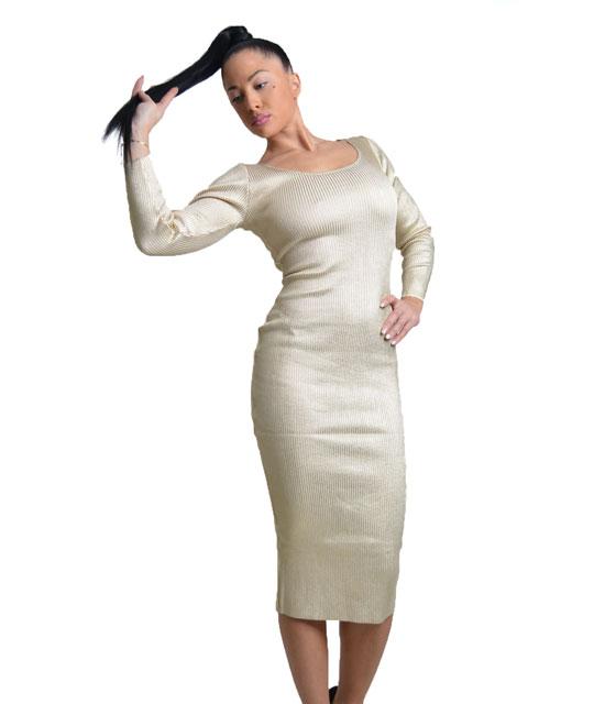 Μidi πλεκτό εφαρμοστό φόρεμα χρυσό