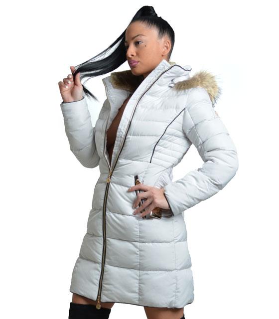 Μπουφάν maxi λευκό με γούνα κουκούλα