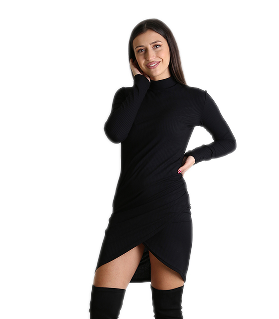 b037bc2ccb53 Ασύμμετρο εφαρμοστό φόρεμα ζιβάγκο (Μαύρο)