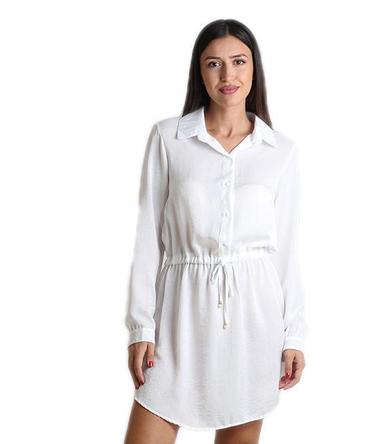 Σατέν φόρεμα με γιακα (Λευκό)