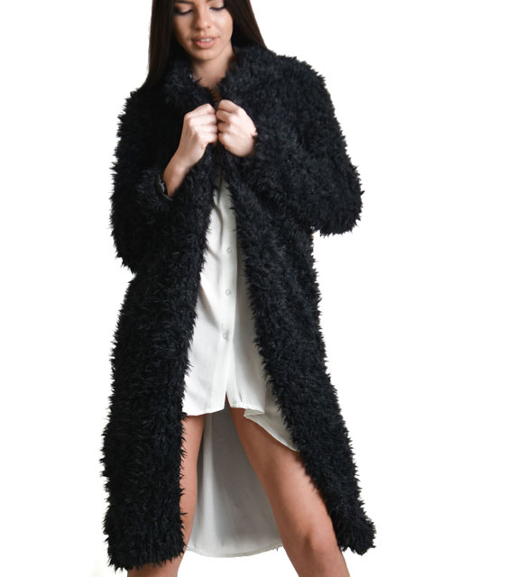 Faux fur coal Black