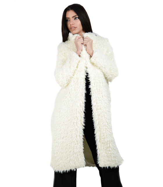 Faux fur coal White