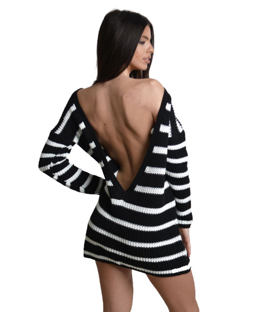 Knitted scoop back dress Black and White