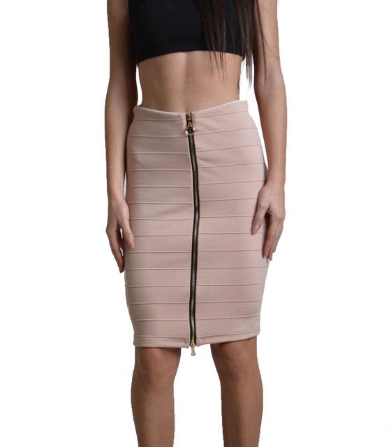 Εφαρμοστή ψηλόμεση φούστα με φερμουάρ Ροζ