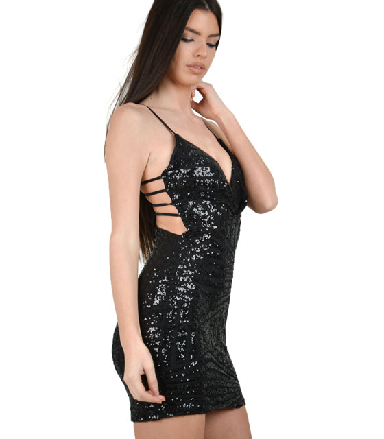 Bodycon sequin dress with back cut out black