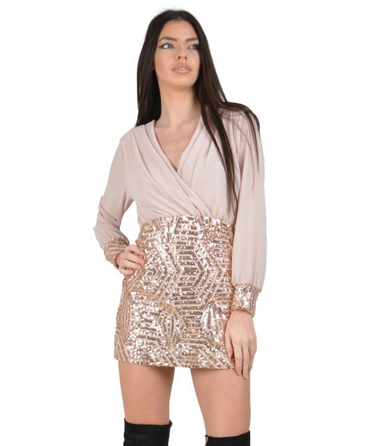 Deep plunge dress with sequin details Pink