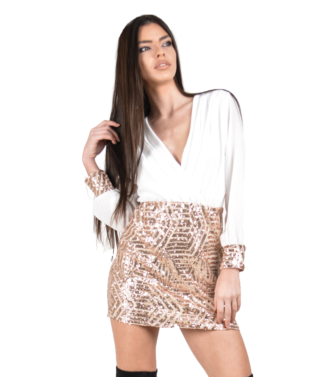 Deep plunge dress with sequin details white
