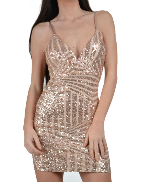 Bodycon sequin dress with back cut out Pink