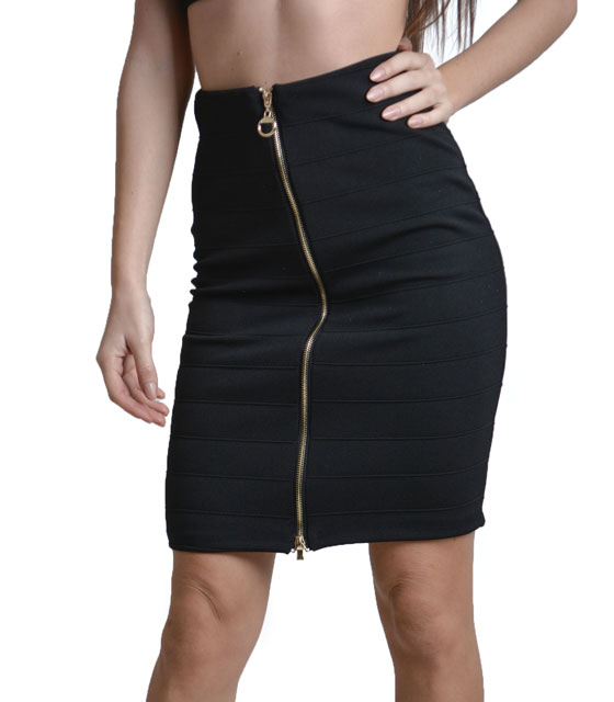 High weisted bodycon skirt with zip black