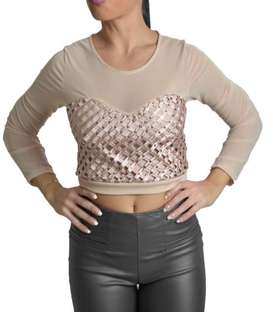 Sequin top with mesh details ( Pink)