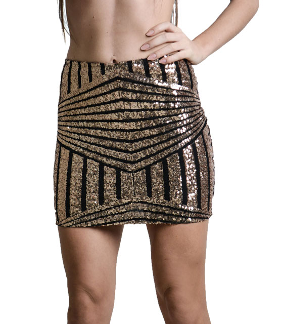 Bronze sequin black skirt