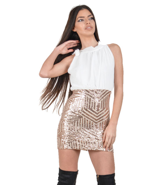 Sleeveless sequin dress (White)