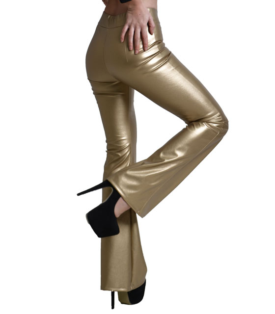 Trousers wide finish leatherette gold