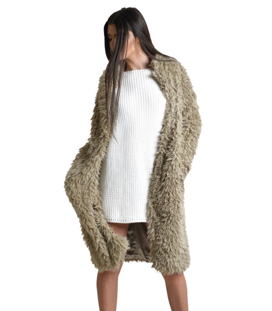 Faux fur coat Beige