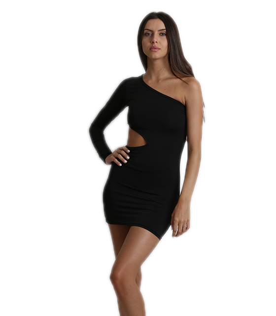 Black short one sleeve dress with side opening
