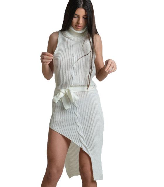 Λευκό πλεκτό φόρεμα ζιβάγκο με ζώνη