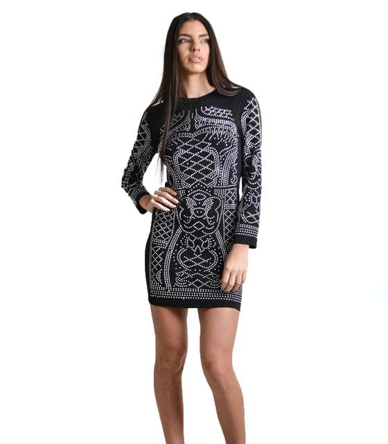 Εφαρμοστό φόρεμα με τύπωμα τρούκς Μαύρο