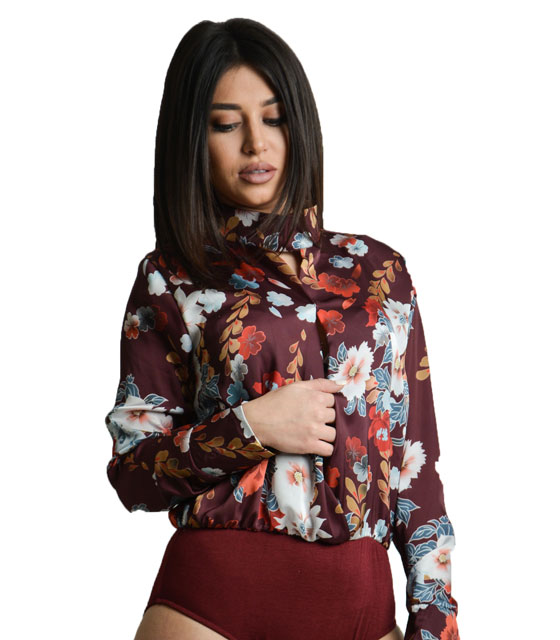 Front cut bodysuit with flower pattern Burgundy