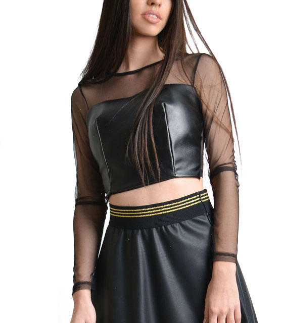 Mesh crop top with faux leather Black