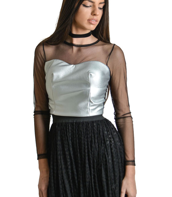 Mesh crop top with faux leather Silver