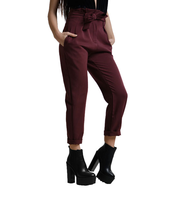 Highweisted belted trousers Burgundy