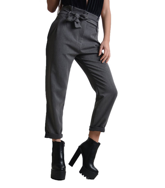 Highweisted belted trousers Grey
