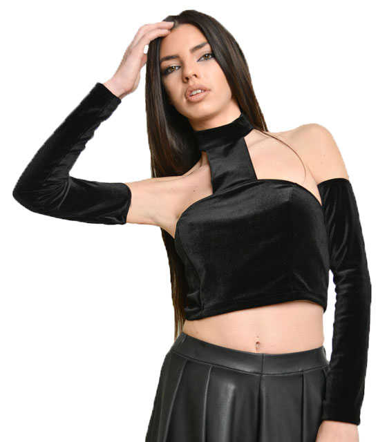 Strapless velvet crop top with sleeves Black