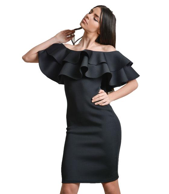 Midi εφαρμοστό φόρεμα με βολάν Μαύρο