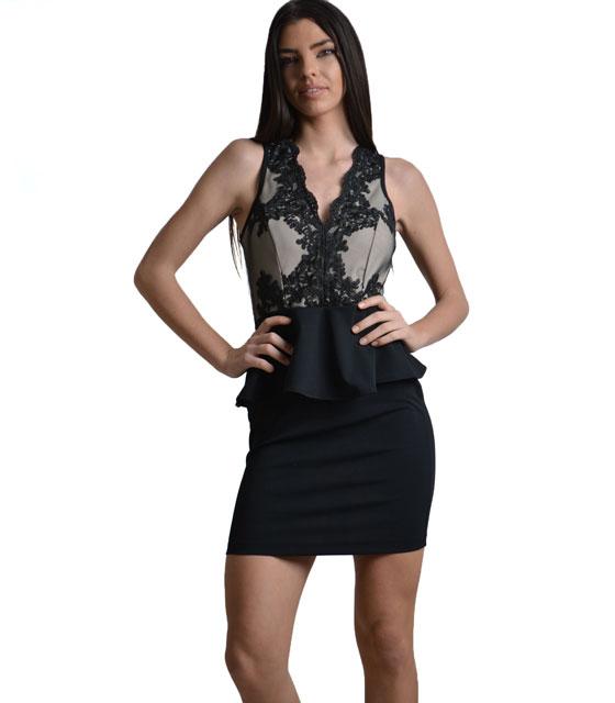 Εφαρμοστό φόρεμα με δαντέλα και διαφάνεια πλάτη Mαύρο