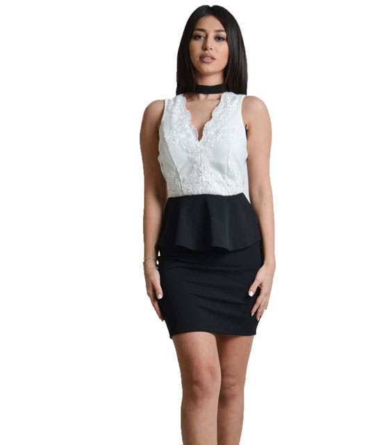 Bodycon mesh back dress with lace details White