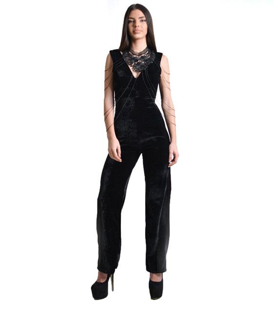 Ολόσωμη φόρμα βελούδο Μαύρη ρούχα   ολόσωμες φόρμες