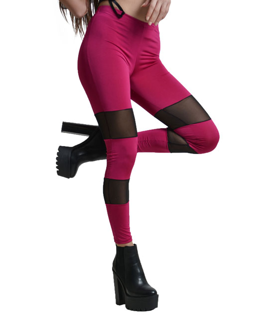 Legging with mesh details pink