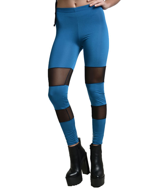 Legging with mesh details blue