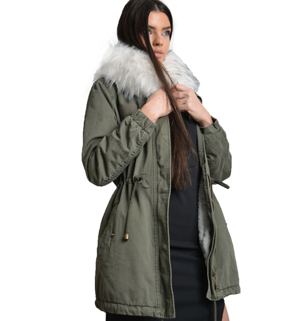 Parka with white faux fur