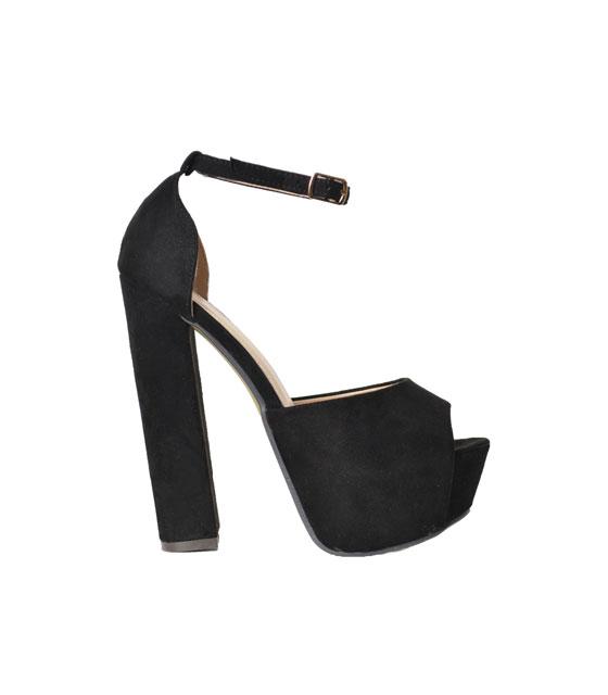 Velvet peep toe heels (Black)