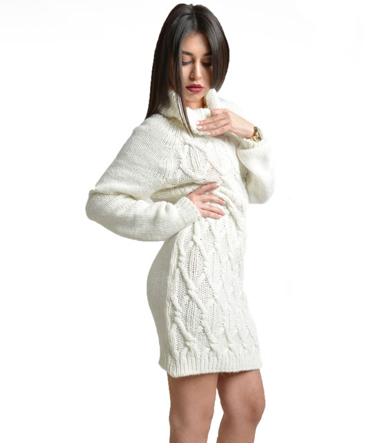 Turtle neck knitted dress White