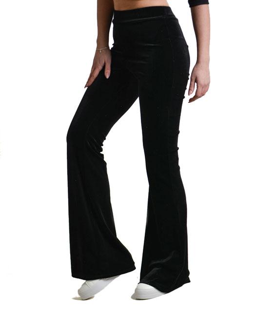 Βελούδινη παντελόνα καμπάνα Μαύρη