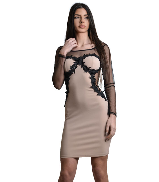 Bodycon mesh dress with lace details Pink