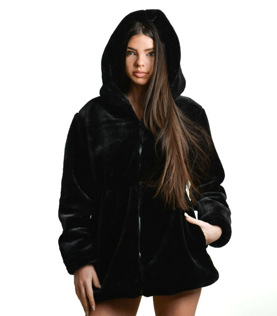 Black hooded faux fur