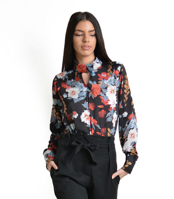 Front cut bodysuit with flower pattern black