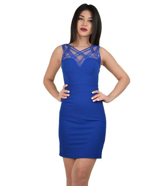 Μίνι φόρεμα με λεπτομέριεις διαφάνεια στο μπούστο (Μπλέ) ρούχα   φορέματα
