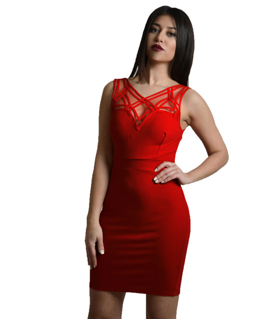 Mini dress with lace details (Red)