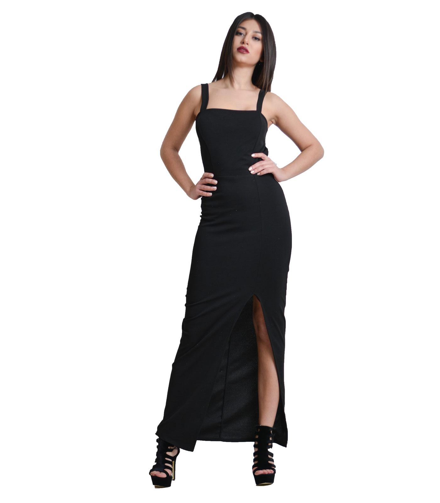 Μάξι εφαρμοστό φόρεμα με σκίσιμο και άνοιγμα στην πλάτη Μαύρο