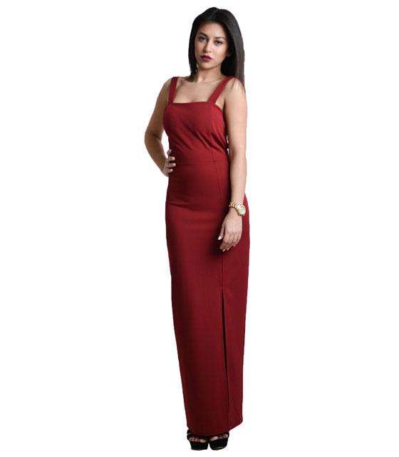 Μάξι εφαρμοστό φόρεμα με σκίσιμο και άνοιγμα στην πλάτη Μπορντό