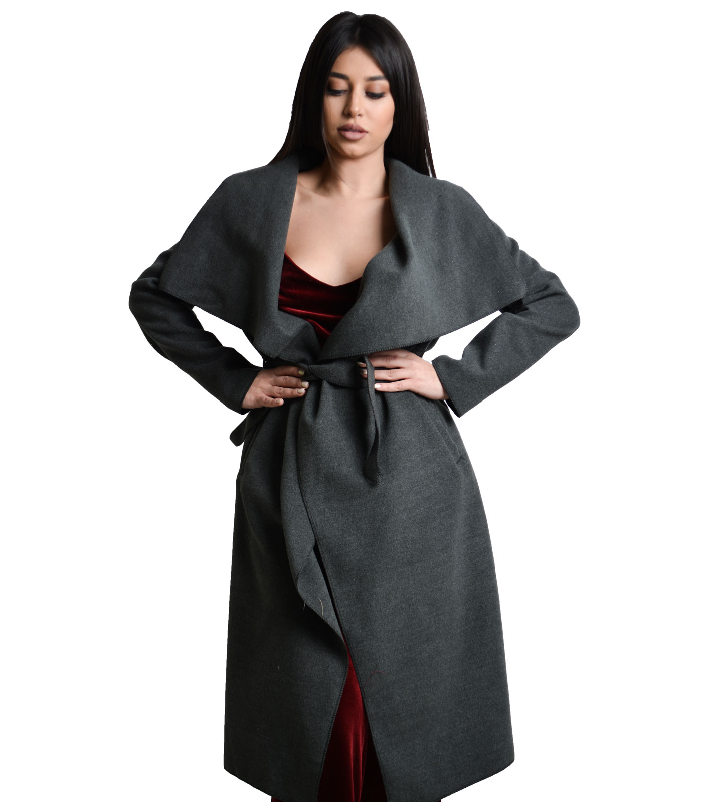 Παλτό με ζώνη σκούρο Γκρι