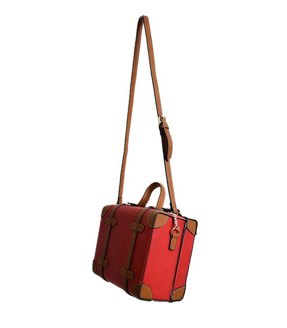Suitcase shoulder bag red