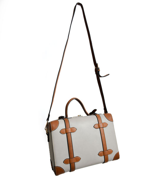 Suitcase shoulder bag beige