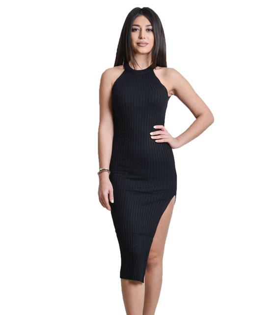 Πλεκτό φόρεμα με άνοιγμα στο πλάι (Μαύρο)