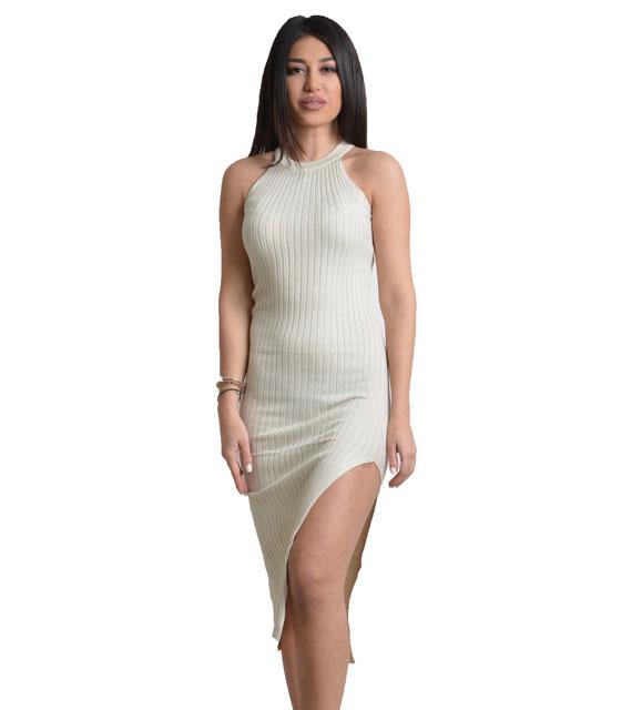 Πλεκτό φόρεμα με άνοιγμα στο πλάι (Μπεζ)